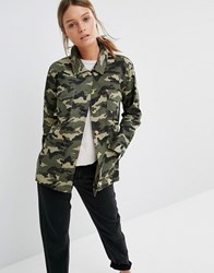 New Look Camo Military Jacket Green Pattern