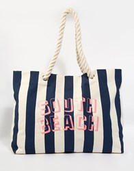 South Beach Navy Striped Beach Bag With Rope Handle Navy