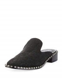 Adrianna Papell Pam Studded Leather Loafer Mule Black