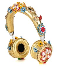 Dolce And Gabbana Exclusive To Mytheresa.Com Embellished Metallic Leather Headphones Gold