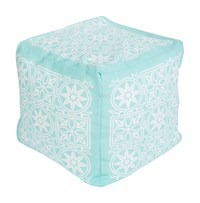 Surya Rain Cube Pouf 2 Light Aqua Blush Blue