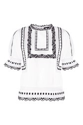 Topshop Poplin Embrodiered Puff Sleeve Top White