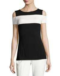 Chelsea And Theodore Colorblock Cold Shoulder Jersey Top Black White