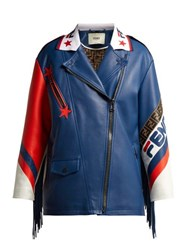 Fendi Mania Logo Trimmed Leather Biker Jacket Blue Multi