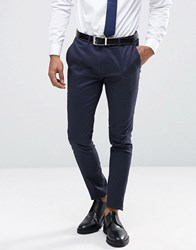 Only And Sons Super Skinny Trousers In Cotton Sateen Navy