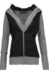 Norma Kamali Striped Stretch Jersey Hooded Top Gray
