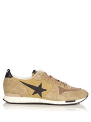 Golden Goose Running Low Top Suede And Nylon Trainers Green Multi