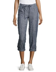Lord And Taylor Plus Roll Up Linen Pants Blue