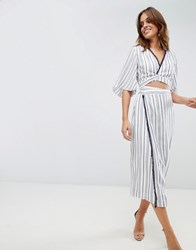 The Jetset Diaries Aries Stripe Shirt Dress Blue