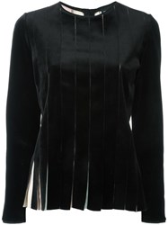 Giorgio Armani Striped Pleat Effect Blouse Black