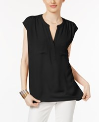 Inc International Concepts Cap Sleeve Contrast Top Only At Macy's Deep Black