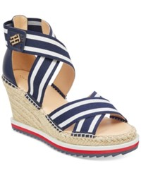 Tommy Hilfiger Yesia Espadrille Platform Wedge Sandals Created For Macy's Women's Shoes Navy