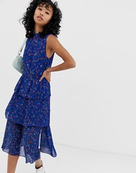 Whistles Ditsy Floral Pleated Tiered Dress Blue
