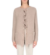 The White Company Fringe Detail Knitted Cardigan Taupe Marl