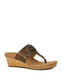 Ugg Briella Metallic Wedge Sandals Pony Brown