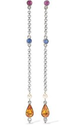 Ben Amun Woman Silver Tone Crystal And Faux Pearl Earrings Silver