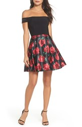 Blondie Nites Off The Shoulder Rose Fit And Flare Dress Black Floral