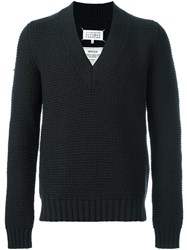 Maison Martin Margiela Chunky Knit V Neck Sweater Blue