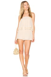 Blq Basiq Layered Romper With Tassels Beige