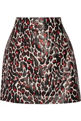 Mcq By Alexander Mcqueen Printed Leather Mini Skirt Black