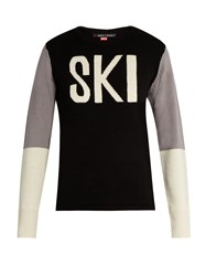Perfect Moment Ski Intarsia Wool Sweater Black Grey