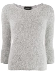 Roberto Collina Cropped Sleeve Knitted Jumper Grey