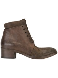 Marsa Ll 'Corteccia' Lace Up Ankle Boots Brown