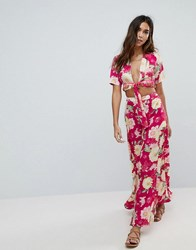 Boohoo Floral Beach Maxi Skirt Multi