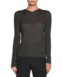 Giorgio Armani Ribbed V Neck Long Sleeve Sweater Gray