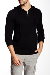 Autumn Cashmere Leather Trim Cashmere Hooded Sweater Black