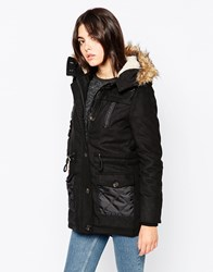 Bellfield Longline Parka With Faux Fur Hood And Pu Pockets Black