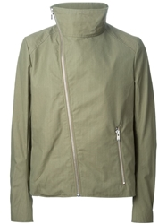 Thamanyah Disclocated Shoulder Funnel Neck Coat Green