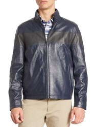 Saks Fifth Avenue Modern Perforated Stripe Leather Bomber Jacket Navy