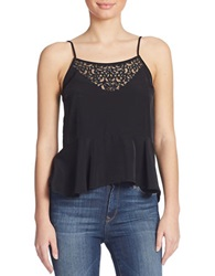 Guess Embellished Peplum Tank Top Jet Black
