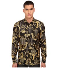 Versace Iconic Baroque Print Silk Button Up Black Gold Men's Long Sleeve Button Up