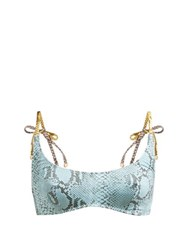 Stella Mccartney Timeless Snakeskin Print Scoop Neck Bikini Top Blue Multi