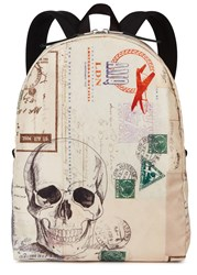 Alexander Mcqueen Letters From India Printed Backpack Cream