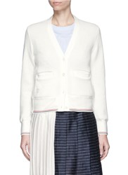 Thom Browne Chunky Pique Cotton Cardigan White
