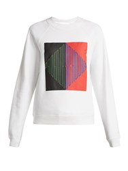 Pswl Logo Print Cotton Jersey Sweatshirt White Multi