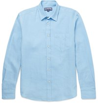 Vilebrequin Slim Fit Linen Shirt Blue