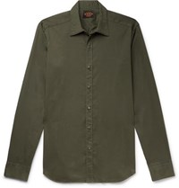 Tod's Slim Fit Garment Dyed Cotton Blend Twill Shirt Army Green
