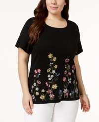 Karen Scott Plus Size Cotton Embroidered T Shirt Created For Macy's Deep Black