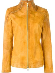10Sei0otto Distressed Zip Jacket Yellow And Orange