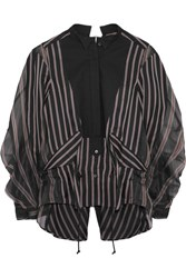 Sacai Open Back Cotton Pique Paneled Striped Twill And Silk Organza Shirt Black