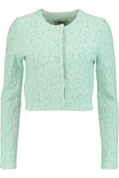 Issa Eugine Cropped Jacquard Knit Jacket Green