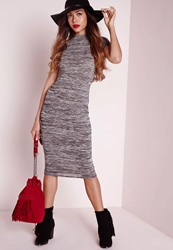 Missguided High Neck Short Sleeve Midi Dress Grey Marl Grey