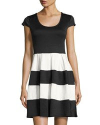 Chetta B Fit And Flare Cap Sleeve Dress Black White