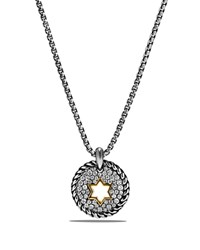 David Yurman Cable Collectibles Star Of David Charm Necklace With Diamonds With 18K Gold Silver Gold