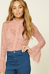Forever 21 Sheer Floral Lace Shirt Dusty Pink