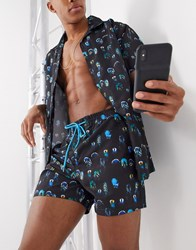 South Beach Recycled Fabric Feather Print Swim Shorts Multi